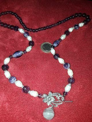 precioso collar de amatistas perlas y cuarzo plata