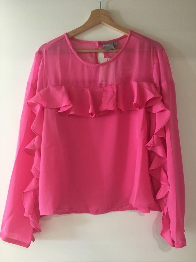 Blusa rosa con volantes de Asos NUEVA talla 48