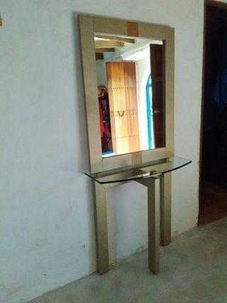 Conjunto mueble y espejo recibidor