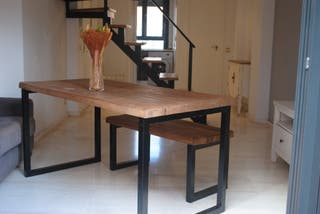 Mesa comedor diseño rústico industrial a medida