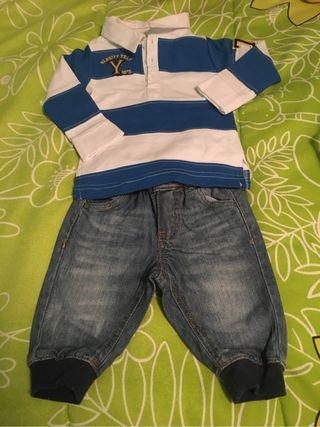 Pantalon y polo de bebe talla 1-3 meses