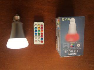 Bombilla led con mando colores