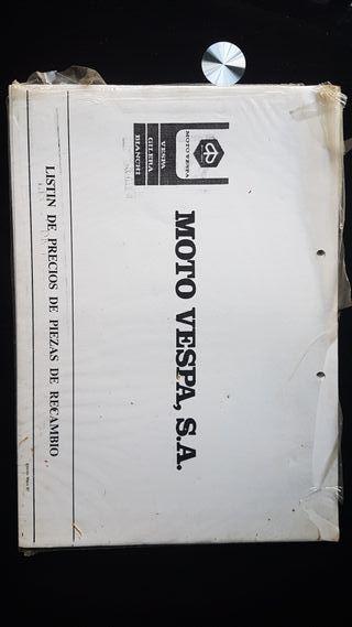Vespa Listin de precios original año 1987