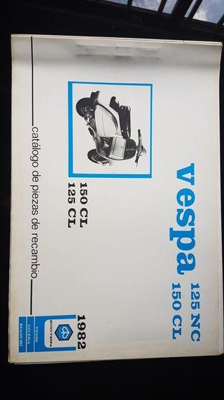 Vespa 125 NC 125 CL año 1982 Catalogo recambios