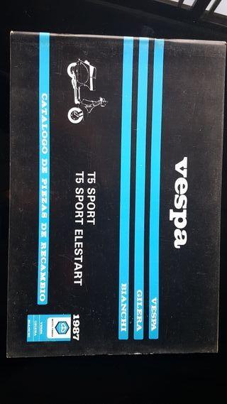 Vespa T5 año 1987 Catalogo piezas original