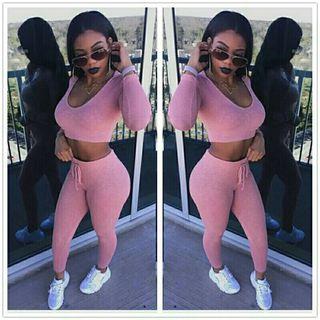 Sexy conjunto deportivo rosa top+pantalón