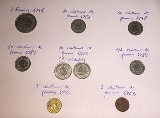 9 monedas de Suiza de coleccionista!!