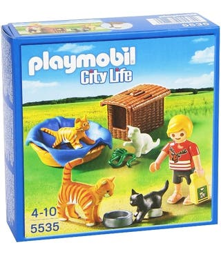 Playmobil veterinaria y familia gatos 5535