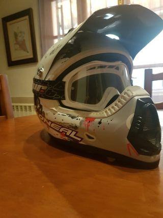 Casco motocross o'neal nineseries gafas blur