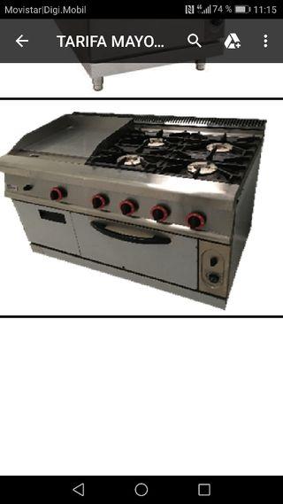 Cocina 4 fuegos con plancha y horno