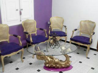 conjunto de sillones i mesa dorado i morado