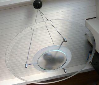 Grande Suspension Pandora verre/métal noir Vintage