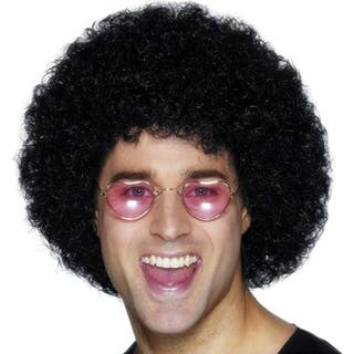 Afro black wig , moustache and sunglasses