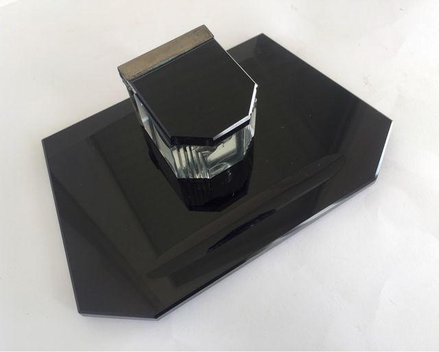 Vintage Tintero art deco de cristal negro y metal