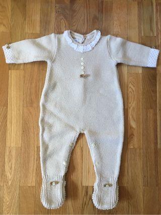 Pelele bebe de lana en crudo T3meses