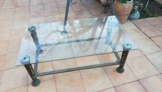Mesa cristal vintage bronce