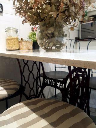 Mesa cocina pie máquina de coser singer