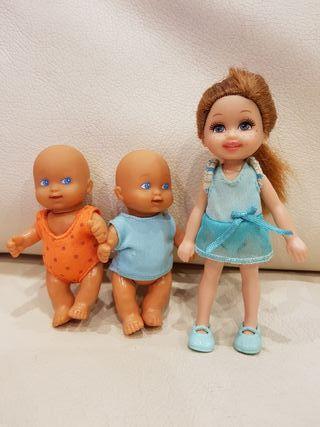 Muñeca Kelly + 2 bebés