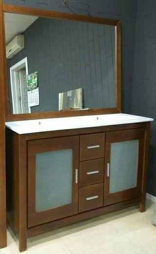 Mueble de baño de madera 2 lavabos