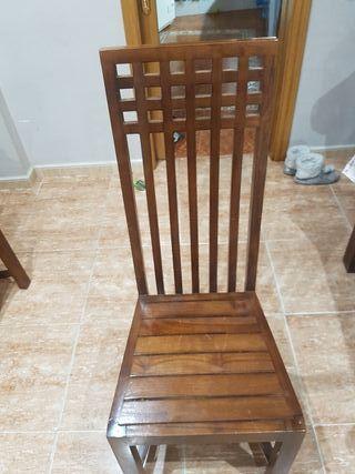 sillas de comedor de madera maciza de teka