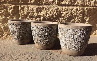 7 mini maceteros de cemento