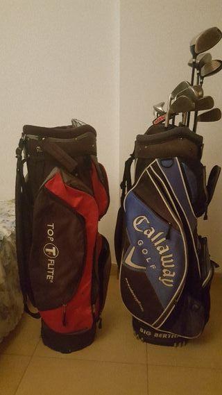 palos de golf con 2 mochilas