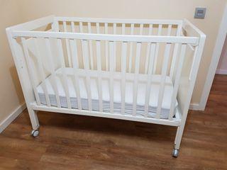 Cuna de bebé madera blanca lacada + Colchón muelle