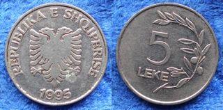 ALBANIA - 5 leke 1995 KM# 76 - moneda