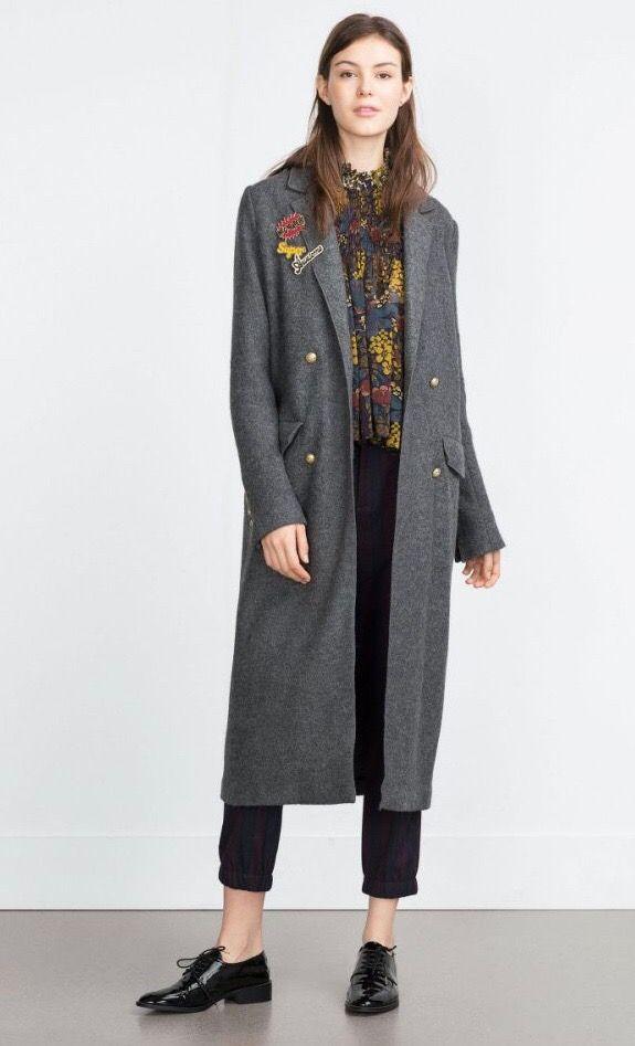 Abrigo largo gris lana de zara también en negro