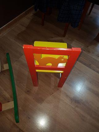 silla niño de madera