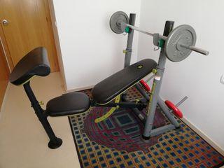 Press banca + barra y pesas 40kg