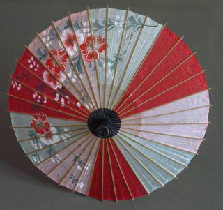 Ombrelle chinoise soie et bambou vintage 60's