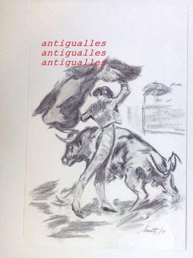 Dibujo A Lapizcarbon Torerocon Firma De Autor De Segunda Mano Por