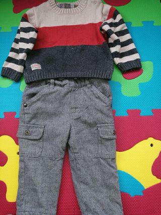 pantalon jersery boboli niño conjunto 9 -14 meses