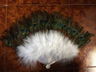 Abanico de plumas pavo real sintetico