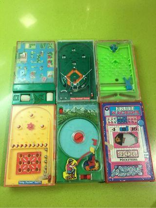 Pinball juego bolsillo 1975-1976 juguete antiguo,geyper,feber,juegos ,barracas,años 80,pocketsize,tomy,
