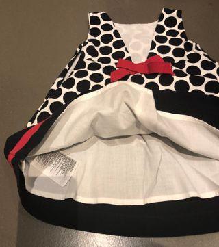 robe baby gap 6-12 mois coton à pois marine