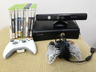 XBOX 360 + 2 mandos + kinect + 9 juegos