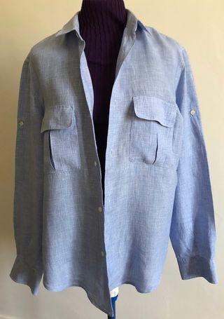 chemise 100% Lin Bleu Mini carreaux T.3 (M/L)