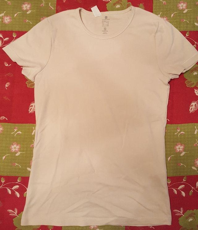 Camiseta básica deportiva Beige domyos