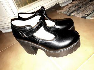 Zapatos mujer tacon plataforma negros talla 38