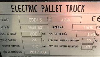 Transpaleta electrica 1.500kg