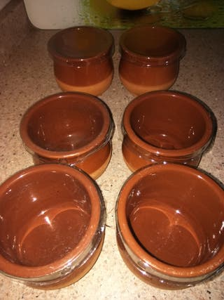 6 tarros de barro con tapa