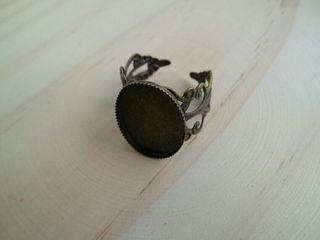 Base anillo camafeo bronce romantic 18x13mm