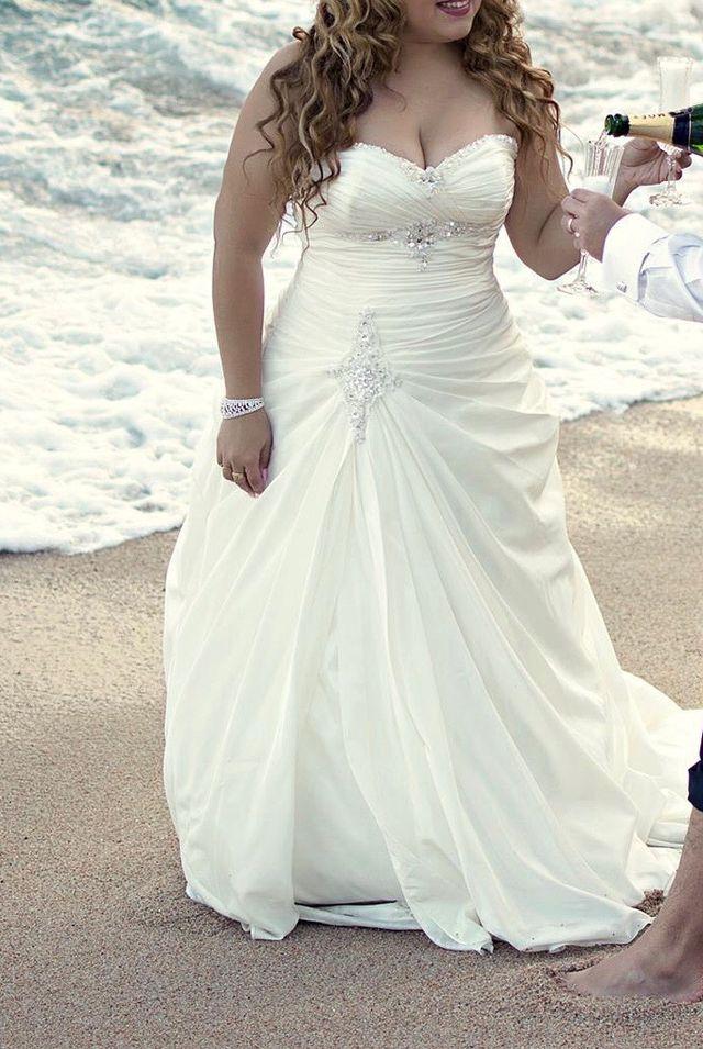 vestido de novia blanco perla con aplicaciones de segunda mano por