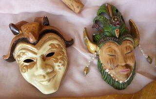 Máscaras cerámicas. Pareja. Años 70. Pequeño tamañ