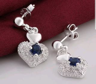 925 silver with blue sapphire and zirconia earring