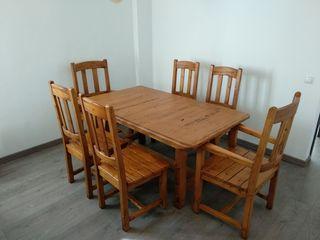 mesa comedor extensible con sillas