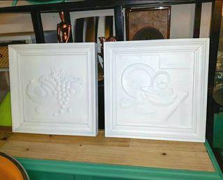 Cuadros Bodegon Ceramica Blanco Mate
