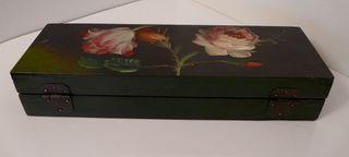 Boite bois décor floral peint style Napoleon III